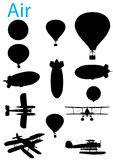 Vintage Aviation Silhouette Set Stock Images