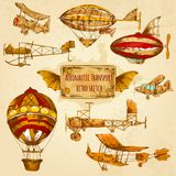 Vintage Aviation Sketch. Vintage steampunk aviation colored sketch decorative icons set with zeppelin balloon and airplane isolated vector illustration Royalty Free Stock Photography