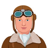 Vintage Aviator. Great Illustration Of A Vintage Pilot Isolated In White Background. Vector Illustration. Retro Man Pilot Aviation In Aviator Helmet royalty free illustration