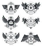Vintage award designs, vintage heraldic Coat of Arms. Vector emb. Lems. Vintage design elements collection stock illustration
