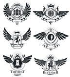 Vintage award designs, vintage heraldic Coat of Arms. Vector emb. Lems. Vintage design elements collection Royalty Free Stock Images
