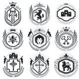 Vintage award designs, vintage heraldic Coat of Arms. Vector emb. Lems. Vintage design elements collection Royalty Free Stock Photos