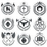 Vintage award designs, vintage heraldic Coat of Arms. Vector emb. Lems. Vintage design elements collection Royalty Free Stock Image