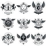 Vintage award designs, vintage heraldic Coat of Arms. Vector emb. Lems. Vintage design elements collection Royalty Free Stock Photo