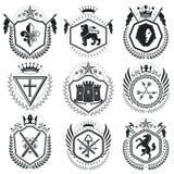 Vintage award designs, vintage heraldic Coat of Arms. Vector emb. Lems. Vintage design elements collection vector illustration