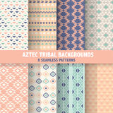 Vintage Aztec Tribal Backgrounds. 8 Seamless Patterns - in vector Royalty Free Stock Photos
