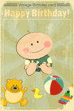 Vintage Baby Birthday Card Royalty Free Stock Photos