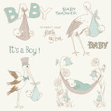Vintage Baby Boy Shower and Arrival Doodles Set Royalty Free Stock Image