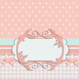 Vintage baby girl arrival announcement card. Stock Photography