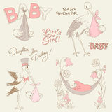 Vintage Baby Girl Shower and Arrival Doodles Set Royalty Free Stock Photos