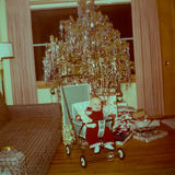 Vintage Baby Picture, Christmas, Tree Stock Photo