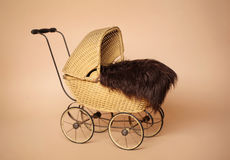 Vintage Baby Pram Carriage Isolated Stock Photography