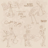 Vintage Baby Shower and Arrival Doodles Set Stock Photography
