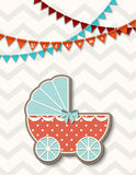 Vintage baby stroller, illustration Royalty Free Stock Photo