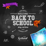 Vintage back to school card. Wooden background, typography desig Stock Photos