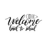 Vintage Back To School poster with pencil drawing. Vector hand lettering. Children education background. Stock Photography