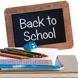 Vintage backboard back to school and school supplies isolated on white Stock Image