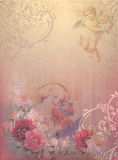 Vintage background. With angels and flowers stock photos