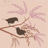 Vintage background. Birds in the tree - vintage stylized background stock illustration