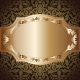 Vintage background. Golden background with floral ornaments Stock Photos