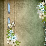 Vintage background. With lace and flower composition Stock Photos