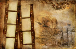 Vintage background. Background in adventure stories style with film strips Stock Images