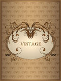 Vintage background with abstract floral ornament in the frame in brown tones Royalty Free Stock Photography