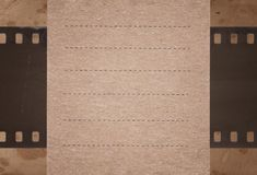 Vintage background with retro paper and old film strip Stock Images