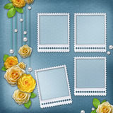 Vintage background for album or congratulation card with roses a Stock Photos