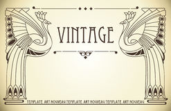 Vintage background in art nouveau. Vintage background with bird of happiness Royalty Free Stock Photo