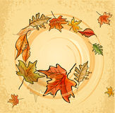 Vintage background with autumn leaves Stock Images