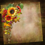 Vintage background with autumn leaves and flowers Royalty Free Stock Images