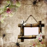Vintage background with  bamboo frame. Orchids and butterfly Stock Photos