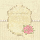 Vintage background with basket of flowers Stock Photos