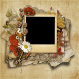 Vintage background with beautiful floral border Stock Photography