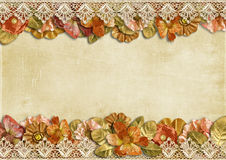Vintage background with beautiful floral border Royalty Free Stock Photos