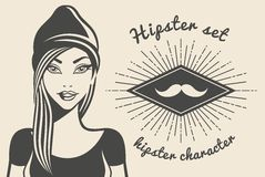 Vintage background beautiful girl hipster Style. Hipster style Sunburst text. Vector illustration.  Royalty Free Stock Photos