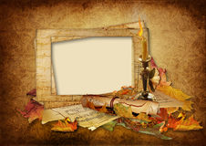 Vintage background with beautiful photo frames. Victorian background with old card,autumn leaves  and candle. family album Stock Images