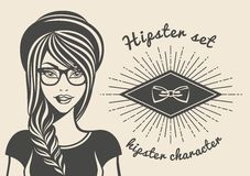 Vintage background beautiful woman in a hat hipster, hipster style Sunburst text. Vector illustration.  Royalty Free Stock Photo