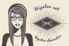 Vintage background beautiful woman in a hat hipster and stylish clothes, hipster style Sunburst text. Vector illustration.  Royalty Free Stock Images