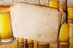 Vintage background with beer Stock Images