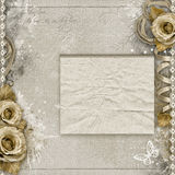 Vintage background with beige roses Royalty Free Stock Image