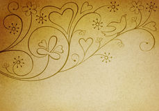 Vintage background with bird. And hearts Stock Image