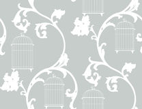 Vintage background with bird cages. Vintage background with floral ornament and bird cages Stock Images
