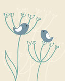 Vintage background with birds , flowers Stock Images