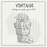 Vintage background with a birthday cake Royalty Free Stock Photos