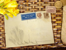 Vintage background with blank postcard Stock Image