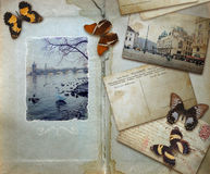 Vintage background with blank space for your text, butterflies a Royalty Free Stock Photography