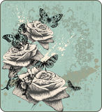 Vintage background with blooming with roses and bu. Tterflies, hand-drawing. Vector Stock Photos