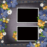 Vintage background with  blue and yellow flowers Royalty Free Stock Photo